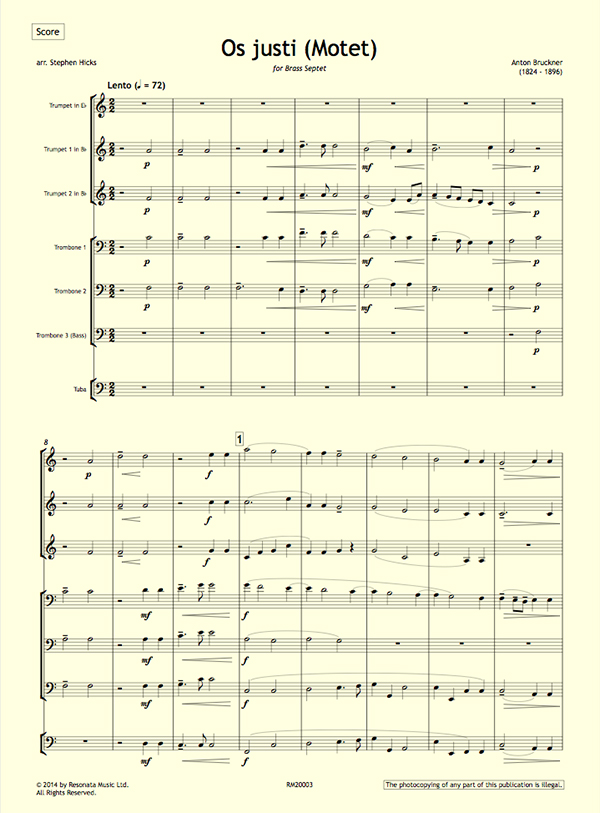 bruckner – os justi (motet) for brass septet – septura brass septet  septura brass septet